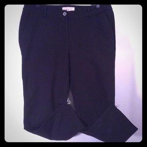 Michael Kors Black Cotton Blend Mid Rise Pants